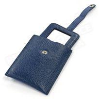 Volumica - Miroir de poche cuir Bleu-marine Beaubourg