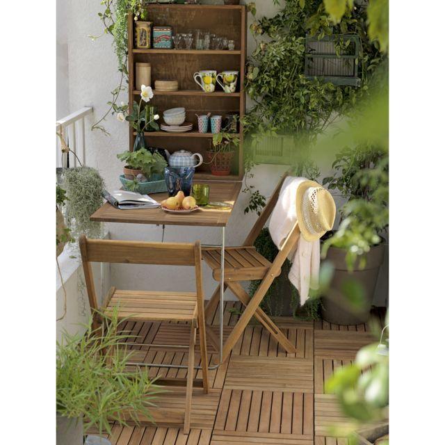 salon pour balcon 2 places table murale pliante 2 chaises pliantes en acacia fsc pas cher. Black Bedroom Furniture Sets. Home Design Ideas