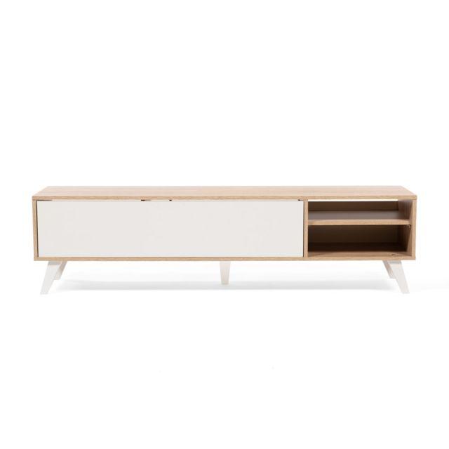 Meuble Tv bas en bois avec 1 abattant et 2 niches Prism - Chêne/Blanc