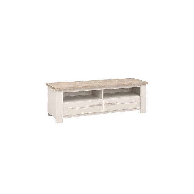 Meuble Tv 2 niches 2 tiroirs blanc et naturel - Cassandre