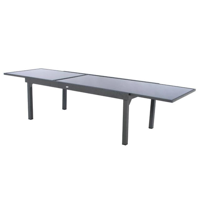 Table extensible rectangulaire en verre Piazza 8/12 places Gris anthracite