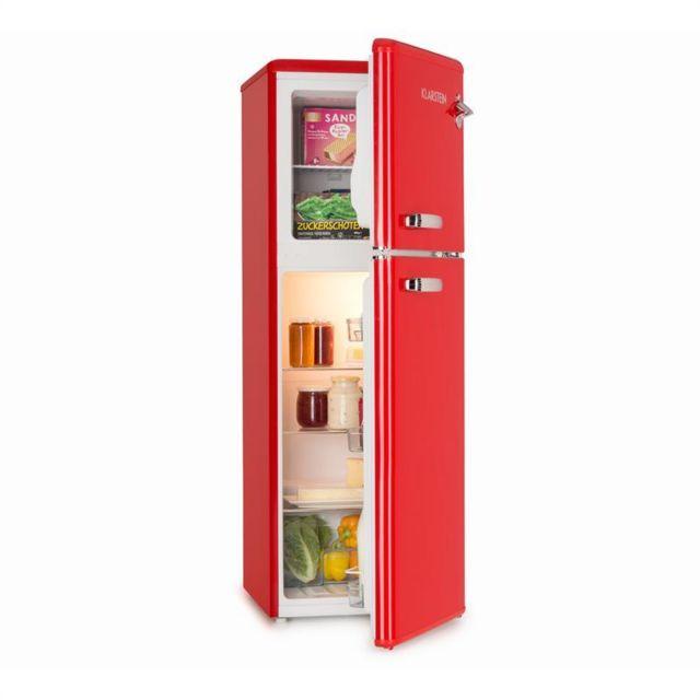 KLARSTEIN Audrey Combiné réfrigérateur 97L congélateur 39L A+ look rétro rouge