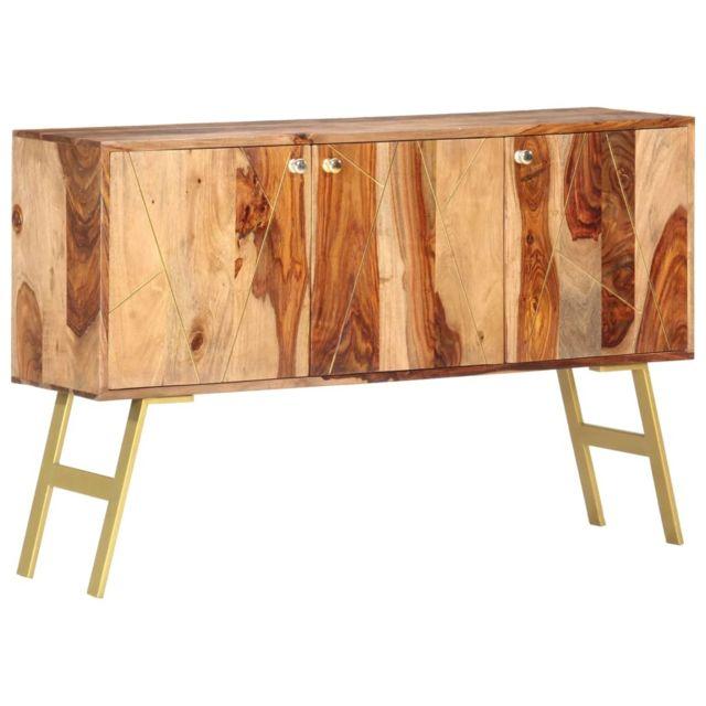 Vidaxl Bois de Sesham Massif Buffet 118x30x75 cm Commode Meuble Rangement