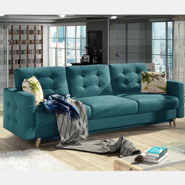 Nouvomeuble Canapé lit 3 places bleu en tissu Astrid
