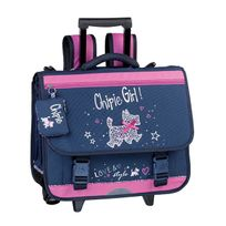 Chipie - Cartable à roulettes 3 compartiments Love et Style 41cm bleu et rose