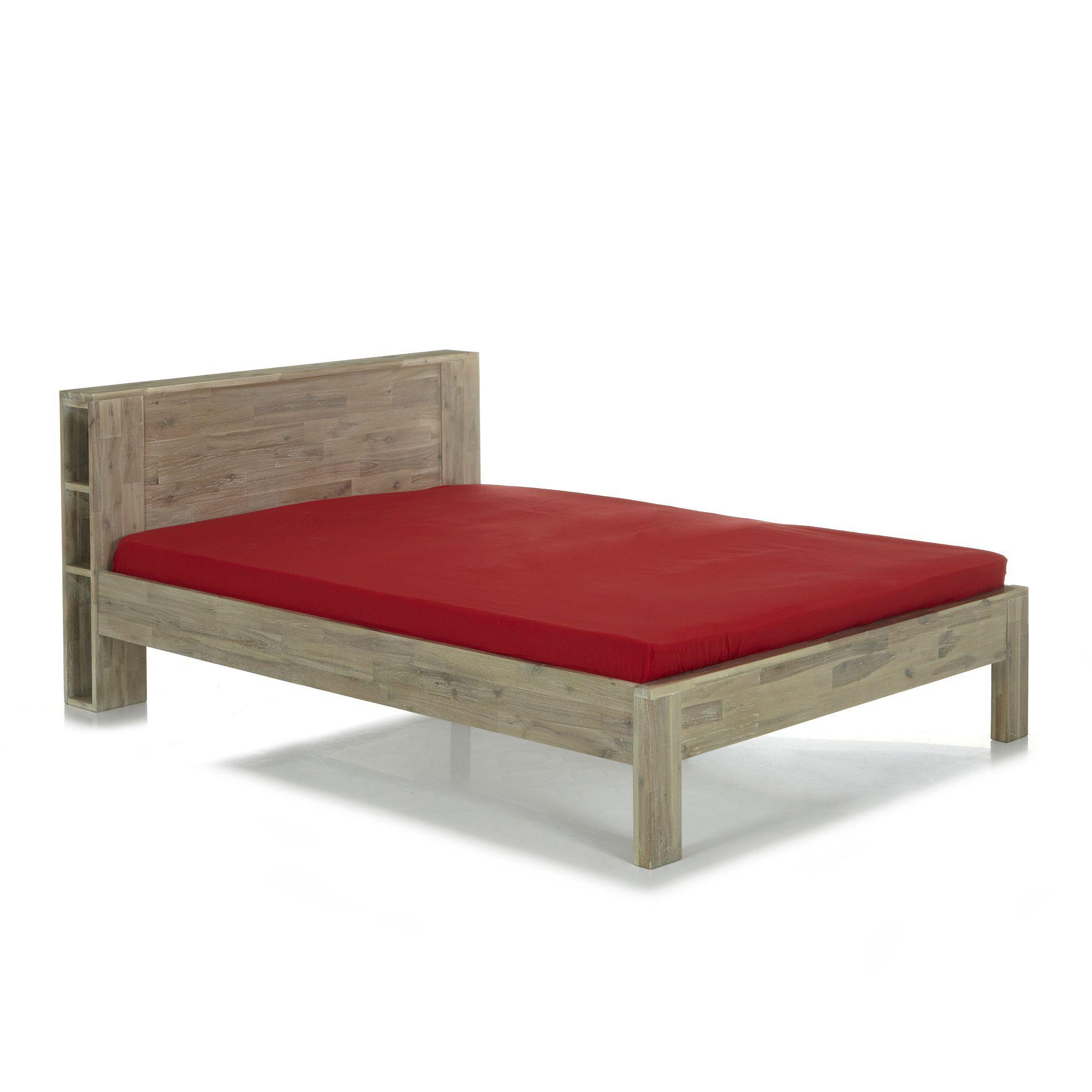 alin a montreal lit 2 places avec t te de lit en acacia 160x200cm pas cher achat vente. Black Bedroom Furniture Sets. Home Design Ideas