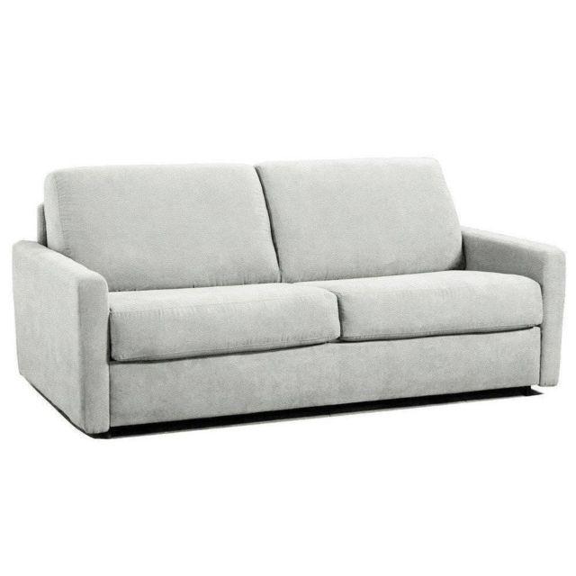 INSIDE 75 Canapé lit rapido ECLIPSE ELITE cuir éco blanc sommier lattes 140cm assises et matelas mémoire de forme