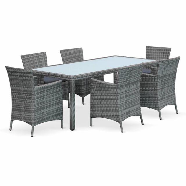 alice 39 s garden salon de jardin en r sine tress e nuances de gris 6 fauteuils table 200cm. Black Bedroom Furniture Sets. Home Design Ideas