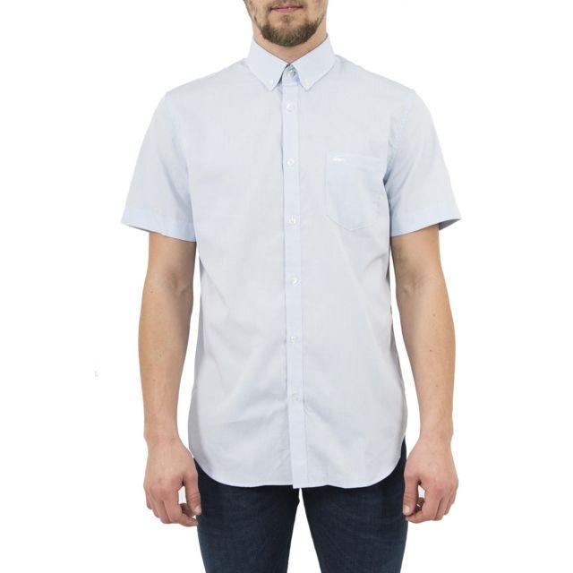 lacoste chemise manches courtes ch1172 bleu 40 pas. Black Bedroom Furniture Sets. Home Design Ideas