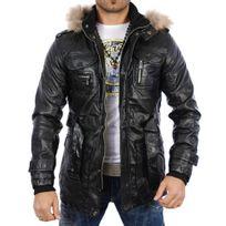 Young And Rich - Manteau cuir homme Veste 4984-YR noir