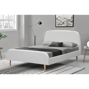 concept usine lit sandvik 140x190cm cadre de lit scandinave blanc avec pieds en bois pas. Black Bedroom Furniture Sets. Home Design Ideas