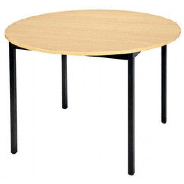 Sodematub Naudin Grande table ronde diamètre 120 cm - piètement noir - plateau hêtre