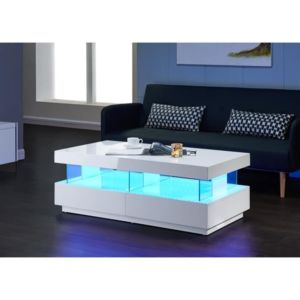 Light table basse avec clairage led multicolore 120cm - Table basse multicolore ...