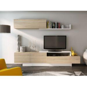 marque generique mur tv monty avec rangements blanc ch ne pas cher achat vente meubles. Black Bedroom Furniture Sets. Home Design Ideas
