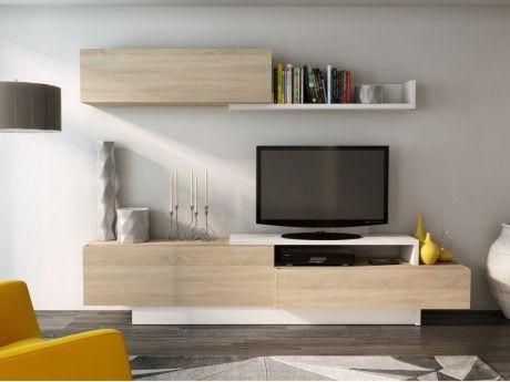 Mur TV MONTY avec rangements - Coloris : Chêne & blanc