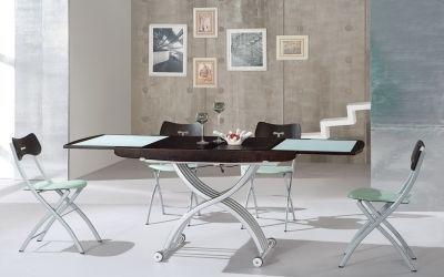 Giovanni Table basse relevable Cooper wenge et verre blanc