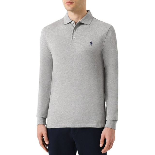 Polo Ralph Lauren - Polo manches longues 3 boutons Anthracite - pas cher  Achat   Vente Polo homme - RueDuCommerce 23e7c1b0d13