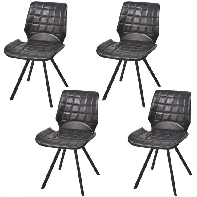 Vidaxl Chaises de salle à manger en cuir artificiel 4 pcs Noir