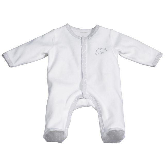 Sauthon - Pyjama bébé blanc lune naissance Céleste - pas cher Achat   Vente  Pyjamas c699a0d6bf7