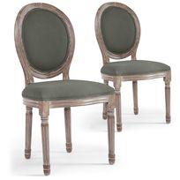 MENZZO - Lot de 2 chaises médaillon Louis XVI Tissu Gris