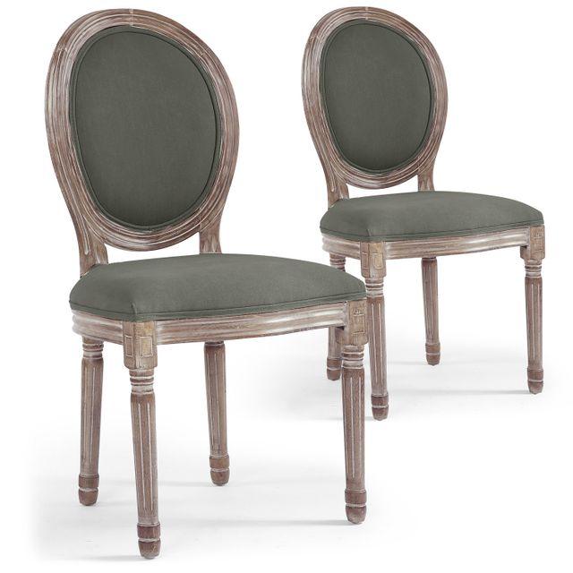 Menzzo lot de 2 chaises m daillon louis xvi tissu gris - Chaise style louis xvi pas cher ...