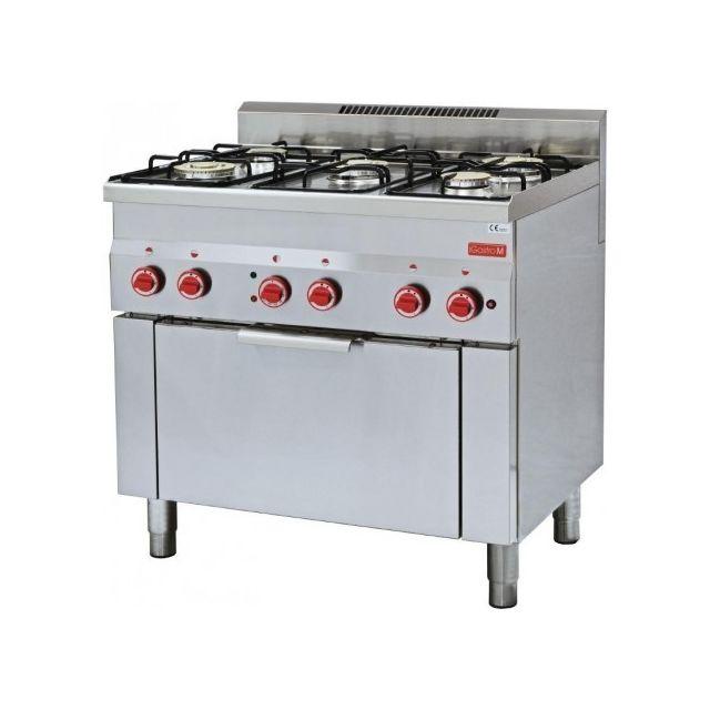 Gastro M Fourneau sur four à gaz 5 brûleurs - four électrique à convection 3 kw 600