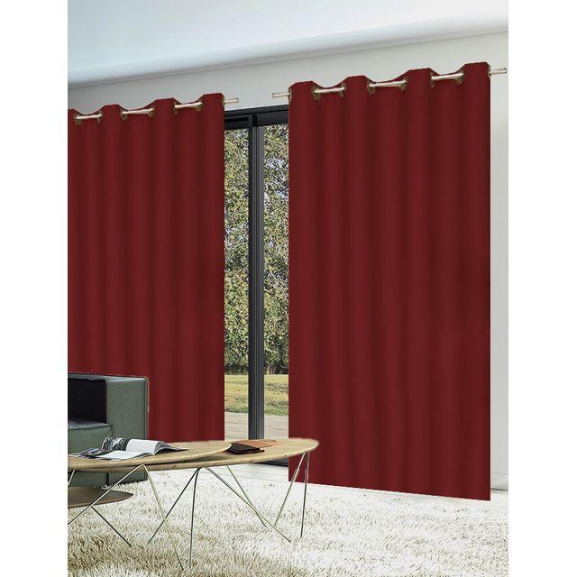homemaison paire de rideaux 80 occultants unis pas cher achat vente rideaux rueducommerce. Black Bedroom Furniture Sets. Home Design Ideas