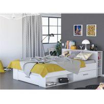 Lit LEONIS avec rangements et tiroirs - 140x190cm - Blanc