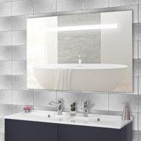 CREAZUR - Miroir rétro éclairé MIRLUX - 120x80 cm - avec interrupteur sensitif