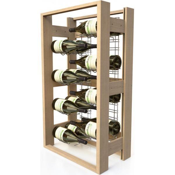 Visiorack Meuble de rangement en bois de 16 bouteilles Magnum - Hêtre Naturel Aci-vis304