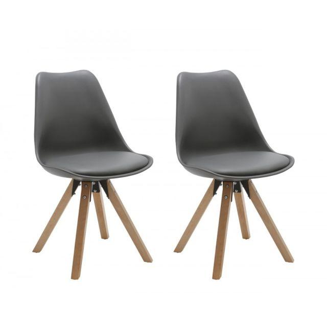 Autre Set de 2 chaises de salle à manger design simili-cuir gris pieds bois Cds09029