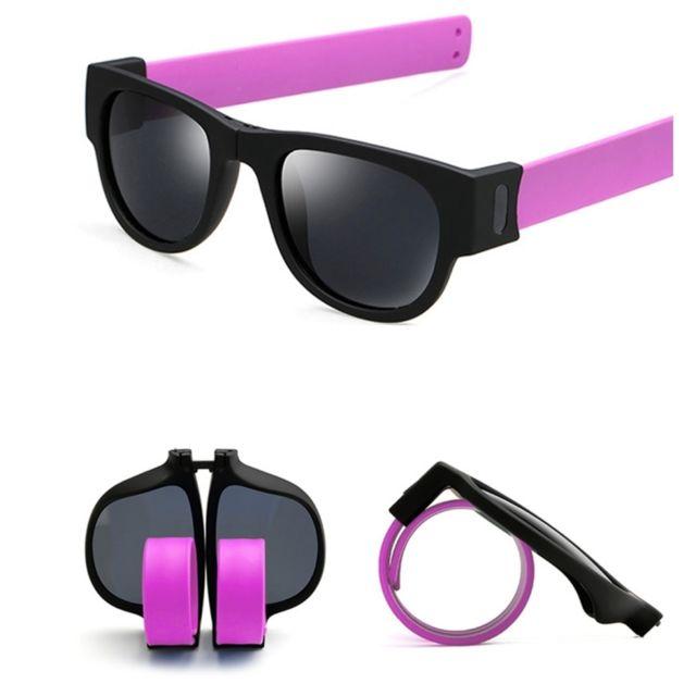 Wewoo - Lunettes de soleil Violet pour Hommes   Femmes Mode Crimp Pliant  Miroir Pops Polarized d75ee841def2