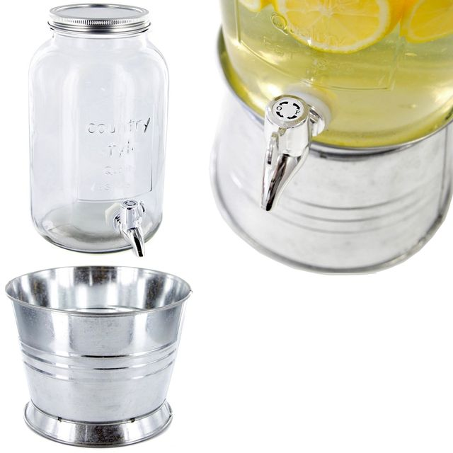 Promobo Fontaine A Boisson Distributeur En Verre Spécial Cocktail Luxe Style Rétro