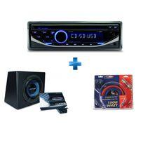 CALIBER - Autoradio CD/USB/SD RCD123 + caisson équipé d'un sub de 25cm et ampli mono + kit montage ampli 20mm²