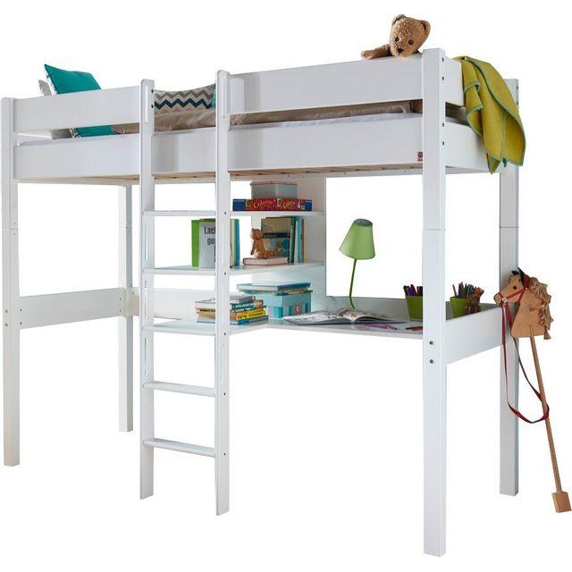 comforium lit mezzanine combin 90x200 cm avec bureau et 3 tag res en h tre massif coloris. Black Bedroom Furniture Sets. Home Design Ideas