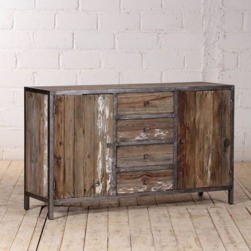 bois dessus bois dessous buffet en pin recycl et m tal largeur 150 cm 2 portes 4. Black Bedroom Furniture Sets. Home Design Ideas