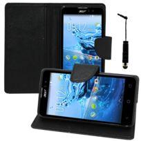 Vcomp - Housse Coque Etui portefeuille Support Video Livre rabat cuir Pu effet tissu pour Acer Liquid Z520 + mini stylet - Noir