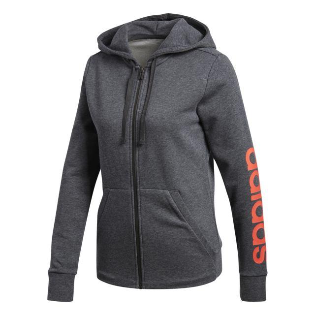Adidas Veste à capuche femme Essentials Linear gris foncé