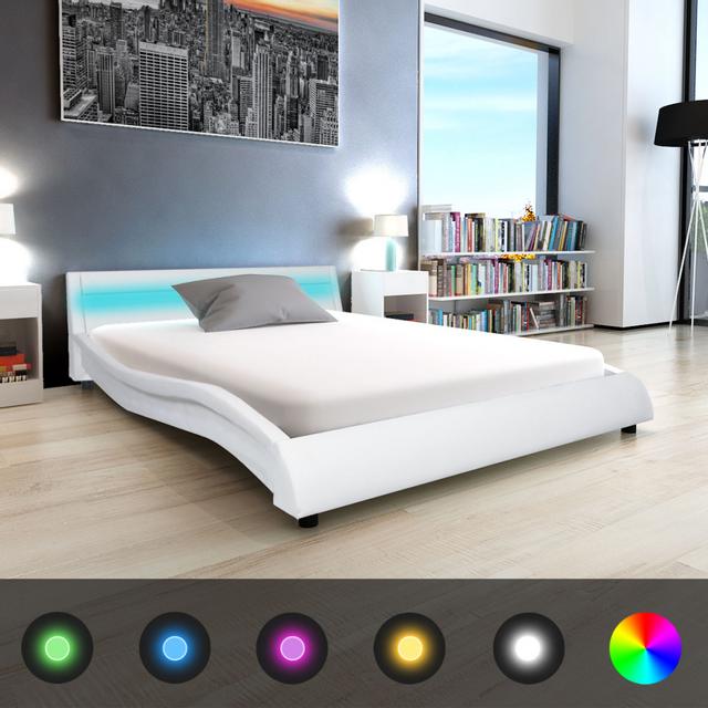 vidaxl lit et matelas mousse m moire 140x200 cm cuir artificiel blanc pas cher achat. Black Bedroom Furniture Sets. Home Design Ideas
