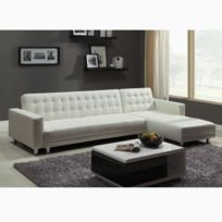 concept usine canape dangle simili cuir 5 places isis blanc convertible lit - Canape D Angle Blanc Pas Cher