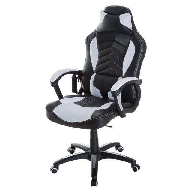 HOMCOM - Luxe fauteuil chaise de bureau gamer fonction massage + chauffage  intégrée dossier inclinable 2b2a48608a97