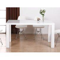 Vente unique table manger irene 6 couverts verre tremp et mdf laqu blanc pas cher for Carrefour table a manger