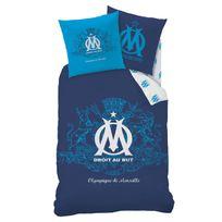 Cti - Parure housse de couette + taie d'oreiller coton/polyster logo bleu Om - 140x200cm