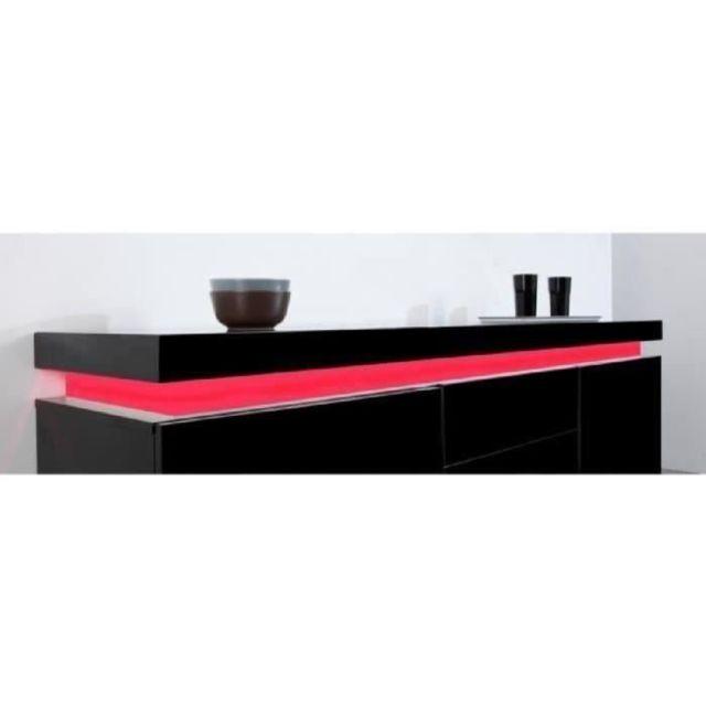 BUFFET - BAHUT - ENFILADE FLASH Buffet bas avec LED contemporain noir laqué brillant - L 175 cm