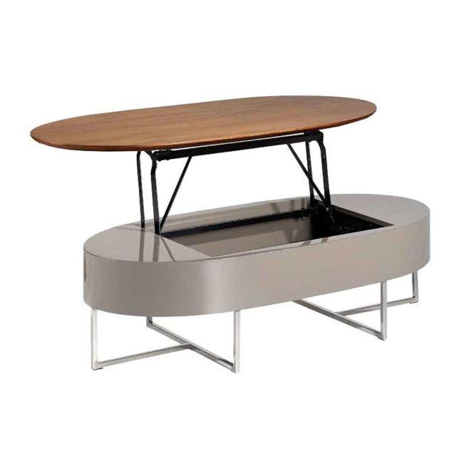 Nouvomeuble Table basse relevable couleur noyer et laqué taupe Calista