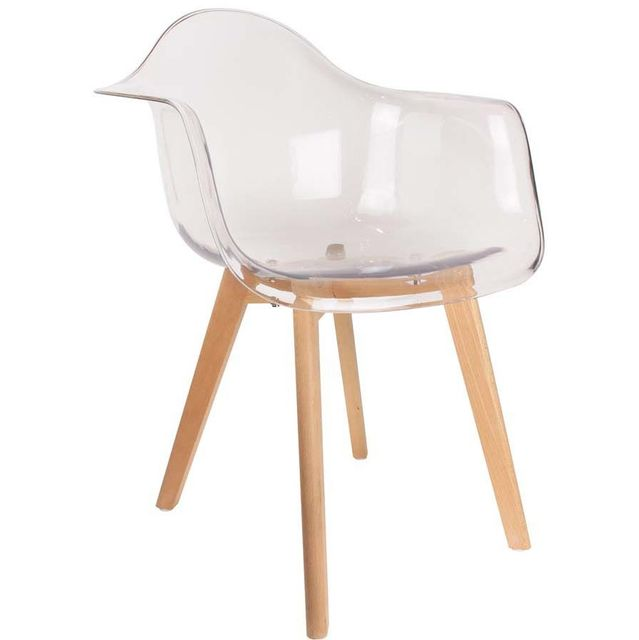 4aadaf2e69542f THE CONCEPT FACTORY - Fauteuil scandinave en polypropylène. Couleur    Transparent