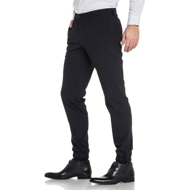 jack jones pantalon costume noir cheville lastique. Black Bedroom Furniture Sets. Home Design Ideas