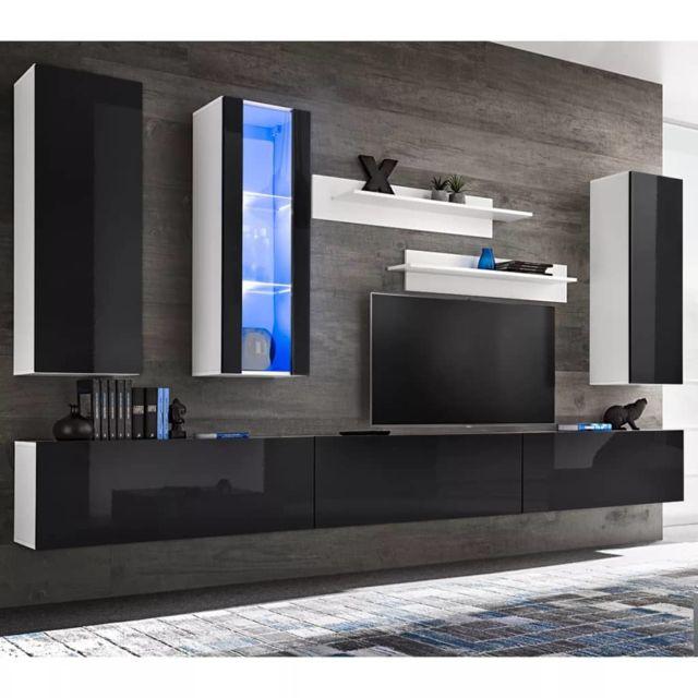 Vidaxl Meuble Tv Mural 8 Pcs Avec Lumières Led Noir Brillant Pas