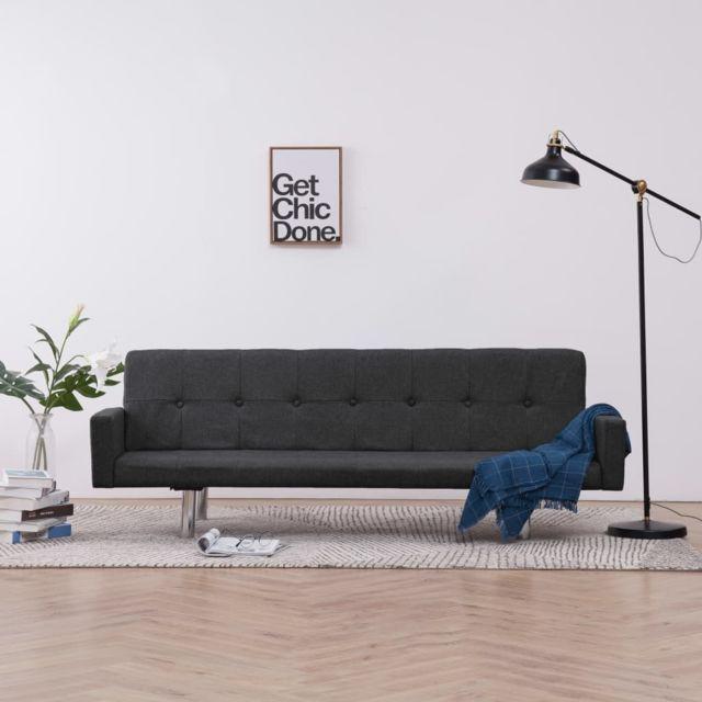 Vidaxl Canapé-lit avec accoudoir Gris foncé Polyester