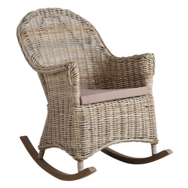 AUBRY GASPARD Rocking chair en poelet gris Kresek